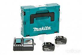 Slika izdelka: Set akumulatorjev MAKITA (2 x 18V/3,0Ah + DC18RC)
